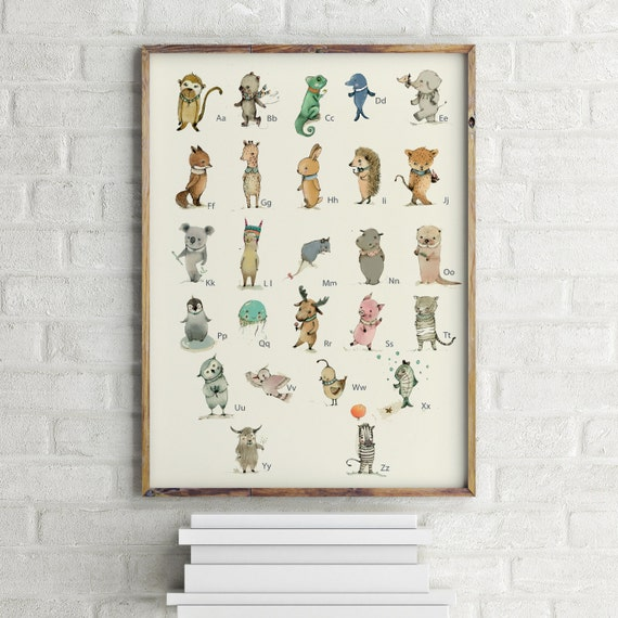 GERMAN - Childrens Wall Art Print -ABC Animals Alphabet  Poster