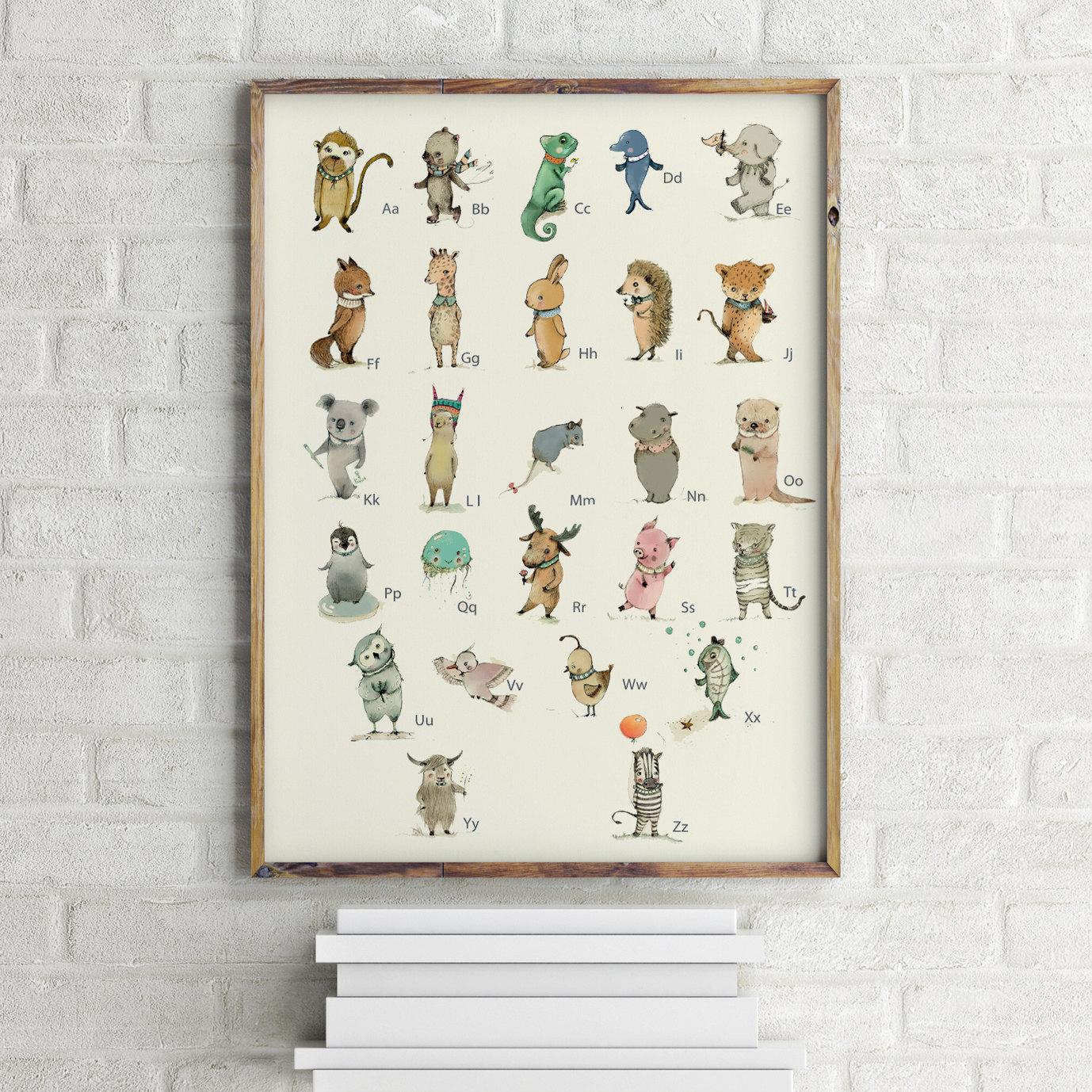 german childrens wall art print abc animals alphabet
