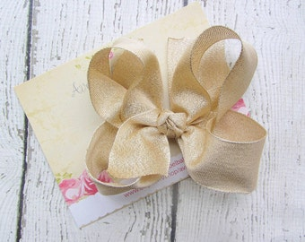"Gold Shimmer Hair Bow for Girls 5"" Photo Prop"