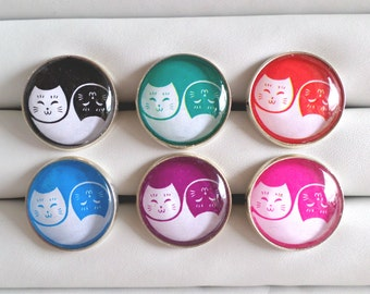 Yin Yang Cats Adjustable Rings - Choose from 6 Color Combinations