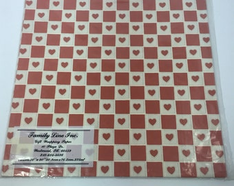vintage wrapping paper checked, soft red and white  checked with hearts 2 sheet, vintage Hallmark gift wrap,