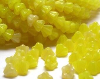 50% Off Sale Czech Glass Beads Baby Bell Flowers 4x6mm Coral Lemon (50) CZP151