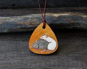 RESERVED Sweet cute rats friends leather pendant - by Fanny Dallaire -  leather work -  rat
