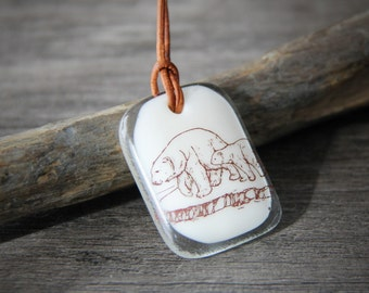 Mom and baby polar bear - fused glass pendant