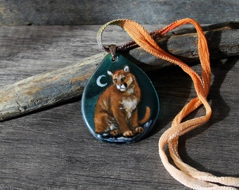Amazing Cougar in the night necklace - Fused glass pendant
