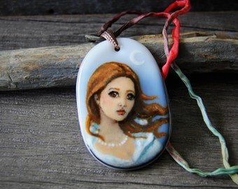 Romantic lady at the moon - fused glass pendant -  boho necklace