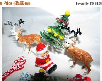 ON SALE Vintage Christmas Cake Toppers, Christmas Tree, Santa, Kris Kringle, Reindeer, Candy Cane, Wreath and more