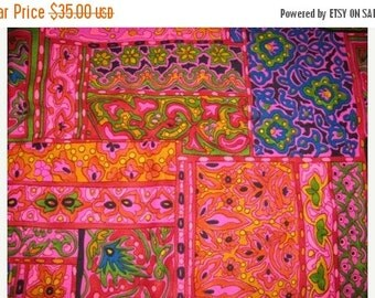 HUGE SALE 1960's or 70's Bohemian HoBo, Funkadelic Fabric, Hot Pink, Purple, Yellows & Greens, Pillows, Curtains and more