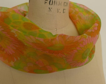 Vintage 60s Sheer Polyester Neck Cowl Scarf
