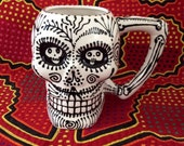 Dali' Inspired Skull Stein in Black, White & Red with Tattoo Sacred Heart 22 Oz