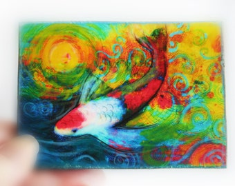 Splash, 2.50x3.50inches, miniature art, Aceo original, mixed media photograph, #Koi art #Tiny art #Little gifts #gifts under 20