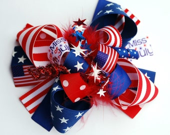 boutique FUNKY fun LITTLE MISS 4th of July hair bow clip