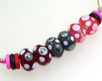 Handmade Lampwork Glass Beads - 3 pairs. Dotties in wine, mystic gray, silver black, raspberry pink. Stacked dots. Earring pairs.