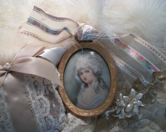 petit vintage oval print & frame, gold tone metal, portrait of marie antoinette on fabric, shabby french cottage charm,  small picture frame