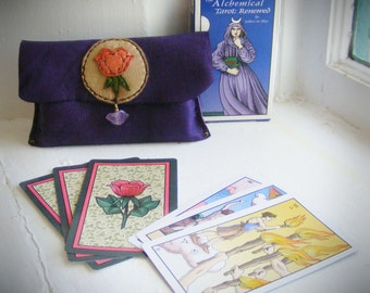 reserved/reserved >>TAROT BAG & CARDS, Alchemical Tarot deck, Deerskin Leather, Amethyst point, tarot oracle cards, pagan fortune teller