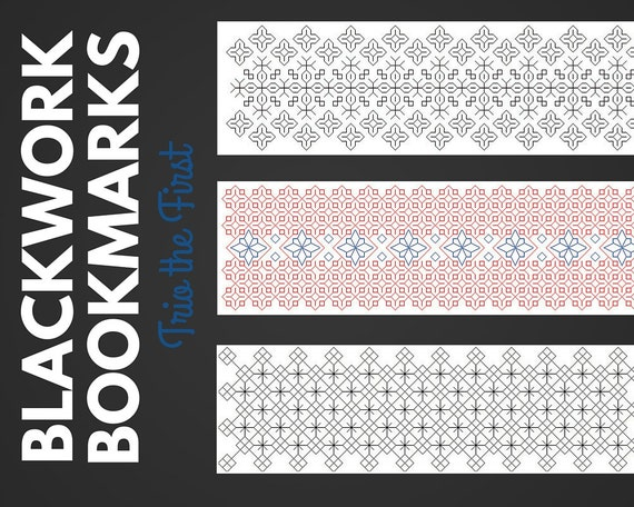 Blackwork Bookmark Stitching Pattern Set