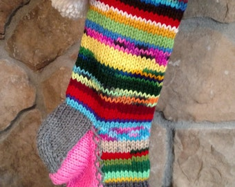 Old Fashioned Hand Knit Rag Series Christmas Stocking Gray Trim PINK Gusset with Lime Green Snowflake Detail