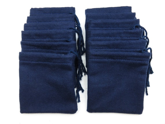 Set of 12, Solid Navy Blue Flannel Cotton Hoo Doo / Mojo Bags / Jewelry Pouches