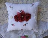 Pin Cushion Pillow, Pearl, Sewing Supplies, Needles,Pins, Handmade