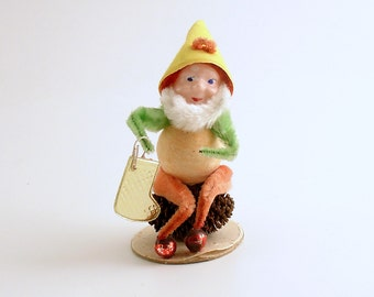 Vintage Christmas Ornament Pine Cone Elf Gnome Stocking Mid Century