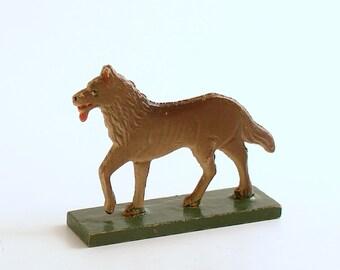 Antique Miniature Wood Wolf Figurine, Erzgebirge, Flachfiguren Germany Big Bad Wolf