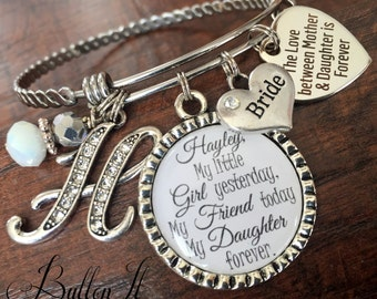 Mother daughter jewelry, BRIDE gift, mother daughter bracelet, I'll love you forever like you, personalized gift,  initial jewelry bangle