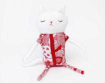 "Cat Sleepy Kitty in Pajamas ""Willow"" Cotton Monster Plush"