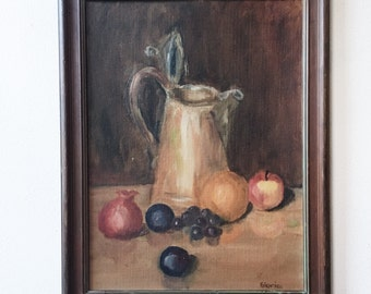Vintage Still Life Painting - framed, autumn, food