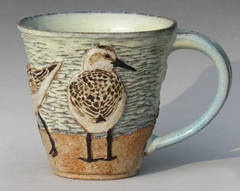 Birds & Beach Mug with Three Sanderlings