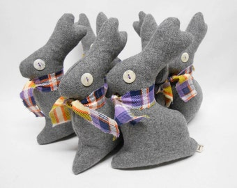 Grey Wool Fabric Bunny Rabbit Home Decor Decorative Accent Springtime Easter