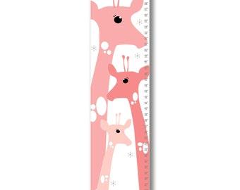 Growth Chart, Giraffe Growth Chart, Pink Giraffe Growth Chart, Custom Growth Chart, Custom Pink Growth Chart, Canvas Growth Chart