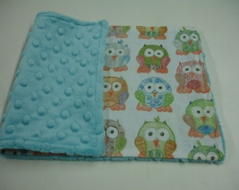 Short Legged Owls Baby Burp Cloth with Minky READY TO SHIP On Sale