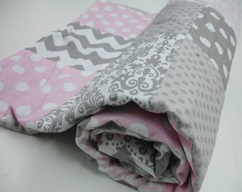 Baby Pink and Gray Mixed Geometrics Minky Comforter Blanket You Choose Size and Minky Color MADE TO ORDER