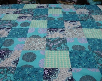 Midnight Garden Patchwork Minky Comforter Blanket MADE TO ORDER No Batting
