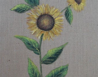 Sunflower Burlap Panel Hand Painted Sunflowers Painting on Burlap Panel 11 inches x 14 inches