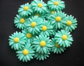10 Flatback Daisy Cabochons Turquoise and Yellow