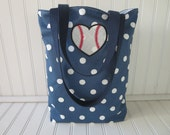 Baseball Bag - Baseball Mom Bag - Small Tote Bag - Navy Blue Tote Bag - Polka Dot Tote Bag - Baseball Tote Bag - Baseball Mom