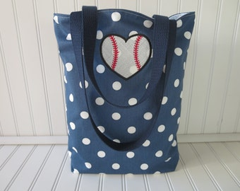 Baseball Mom Bag -Baseball Bag - Baseball Gifts for Women - Baseball Gifts- Polka Dot Tote Bag - Baseball Tote Bag - Baseball Mom
