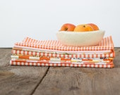 Color Block Bundle in Orange- 10 Cloth Napkins-  FREE SHIPPING
