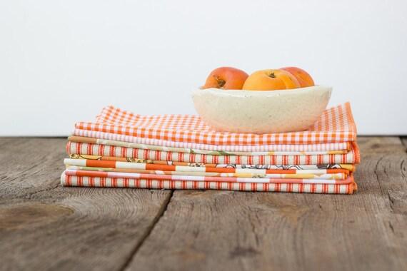 Color Block Bundle in Orange- 10 Cloth Napkins-  FREE SHIPPING