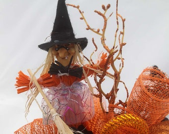 Halloween witch Arrangement, halloween decor, halloween party decorations, deco mesh, halloween decorations, pumpkins, candy corn