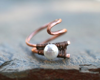 White Freshwater Pearl and Copper Abstract Wire Wrapped Ring, Copper and Pearl, June Birthstone Ring, Size 7