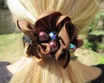 Classic Brown Ribbon Bead Ponytail Holder Bohemian Hair Tie Boho Hair Accessory Elegant Trendy Simple crystal Hair Ornament Pony Holder Gift