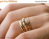 Valentines Day Sale 14k Gold Diamond Branch and Twisty Ring Set | Stacking Rings | Handmade Rings