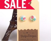 SALE- Sweet Button Earrings- Pink Candy Floral