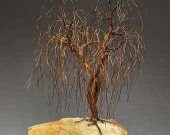 Weeping Willow  Recycled Wire Tree Sculpture by metal artist  H-Omer - 2228 -  FREE SHIPPING