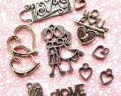 Silver Valentine Charm Mix - Set of 10 - Antique Silver Love Themed Pendants - Hearts, Love, Kissing, Etc. (SC0094)
