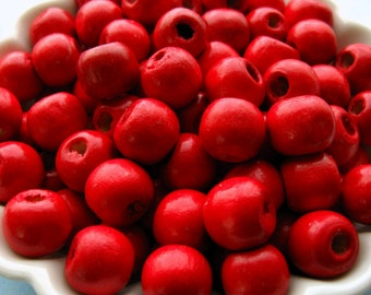 Red Wooden Beads - Over 100 - 10mm - Glossy Ruby Red Wood Beads (WBD0111)