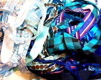 Blue Ribbon Grab Bag, Bag of Assorted Blue Ribbon Scraps x 1/2 pound