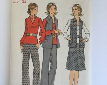 skirt, vest, pant and blouse pattern Size 12 Butterick 6503